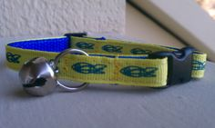 Blast Off - Blue and Yellow Spaceships - Breakaway Adjustable Cat Collar - LIMITED EDITION