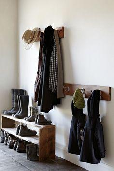 simple & rustic outdoor gear storage for entryway or mudroom A Well Traveled Woman, Halls, Vestibule, Family Room Design, Shoe Storage, Shoe Racks, Coat Storage, Shoe Shelves, Storage Hooks