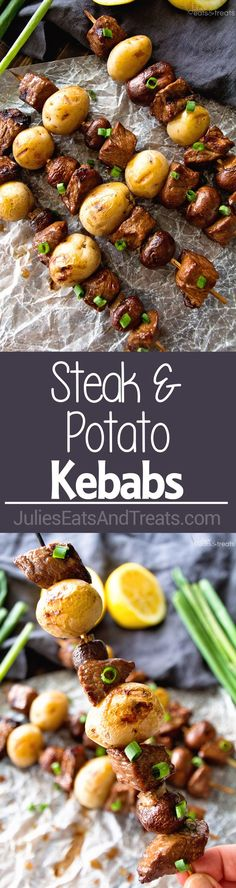 Steak & Potato Kebabs Recipe ~ Tender, Juicy Marinated Steak and Button Mushrooms with Yukon Gold Potatoes Served on a Kebab and Grilled to Perfection! (Baking Chicken And Potatoes) Kebab Recipes, Steak Recipes, Grilling Recipes, Cooking Recipes, Healthy Recipes, Healthy Grilling, Beef Dishes, Food Dishes, Main Dishes