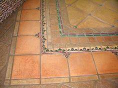 6x12 super saltillo tile with 2x2 talavera decorative for Spanish style floor tiles