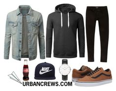 """""""URBANCREWS Mens Casual Denim Jacket and Hoodie Outfit"""" by urbancleo ❤ liked on Polyvore featuring River Island, Vans, Daniel Wellington, NIKE, Plane, women's clothing, women's fashion, women, female and woman"""