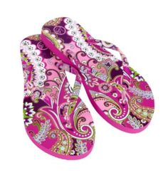 c1e02bd28eb09d Vera Bradley Flip Flops in Very Berry Paisley. One of my fav patterns!