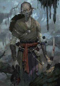 Gist Unlar is a goblin hunter driven to kill the biggest and baddest who loves to kill big game. Extra creepy, even for goblins. Fantasy Races, Fantasy Rpg, Medieval Fantasy, Fantasy Artwork, Dark Fantasy, Humanoid Creatures, Weird Creatures, Fantasy Creatures, Dnd Monsters