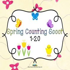Freebie:Our Spring Count Scoot is a great tool for helping your preschoolers with their numbers. You can laminate the cards and use dry erase markers, or attempt to use the recording sheets. For you Kindergarten teachers, this would be a great tool for your kiddos that still need help counting.  Included: -20 scoot cards -4 take a break cards in case you have more than 20 kids -Recording Sheet -Answer Sheet -Scoot directions #Scoot game#math#counting#TPT#teaching ideas#education
