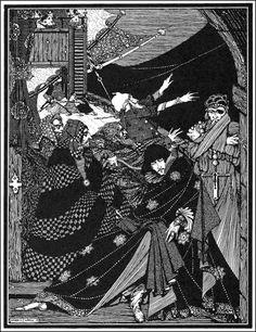 """Непонятные люди!  Завернутые в размышлениях своего рода, которые я не могу божественны, они проходит мимо меня незамеченным! """"Гарри Кларк, Иллюстрация к"""" Мисс Найдено в бутылке """"из рассказов Эдгара Аллана тайны и воображения, 1923 (источник)."""