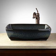 Wheatland Hand-Glazed Pottery Vessel Sink - Midnight Blue