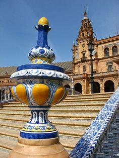 Urlaub Südspanien Plaza De España Sevilla treppen