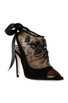 Bows, Beads and Lace! The ultimate feminine Shoe! fall 2012, René Caovilla, shoes, high heels, boots + booties, black