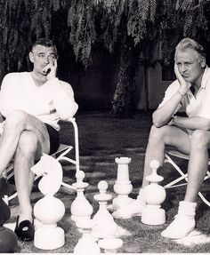 Clark Gable & Charlie Farrell playing chess at the Racquet Club of Palm Springs.