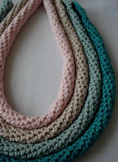 A set of 4 tube crochet necklaces crocheted necklaces by sewella