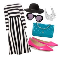 """""""stripes dress"""" by aitaolam on Polyvore featuring Valentino, Jimmy Choo, Chanel, House of Holland, Lucky Brand, Charlotte Russe, women's clothing, women's fashion, women and female"""