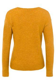 khujo Damen Pullover GOLD rot Strickpullover Langarm Strickmuster V-Ausschnitt