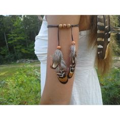 Real Feather Armband, Native American, upper arm, indian armband,... ($16) ❤ liked on Polyvore featuring jewelry, accessories, bracelets, tribal bracelet, bracelet jewelry, brown bracelet, native american indian jewelry and armband bracelet