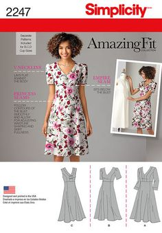 Simplicity Pattern 2247 Misses & Plus Size Amazing Fit Dresses. Princess seams, empire seam, V neck. Separate patterns for B, C, and D cup.