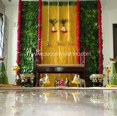 Decor by Krishna AP/ Telangana/ Karnataka/ Tamilnadu/ USA/Australia Housewarming Decorations, Diy Diwali Decorations, Wedding Stage Decorations, Backdrop Decorations, Festival Decorations, Flower Decorations, Mandir Decoration, Ganpati Decoration Design, Ganapati Decoration