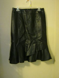 new Cato black leather like skirt 8 Western casual career wear separates  #Cato #Skirt