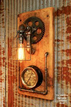 Steampunk industrial wall sconce, Gear, edison, steam gauge lamp light edison Barn wood