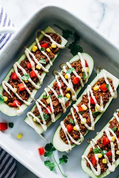 Vegan Zucchini Taco Boats- chopped walnuts and mushrooms give these plant-based taco boats a hearty texture packed full of protein and healthy fats. Drizzled with a cheesy cashew cream for ultimate bliss. (vegan, grain-free and gluten-free) Zucchini Taco Boats, Vegetarian Zucchini Boats, Healthy Vegetarian Meal Plan, Super Healthy Recipes, Healthy Fats, Mexican Zucchini, Vegan Recipes, Stuffed Zucchini, Vegan Vegetarian