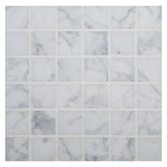 "Marble Mosaic Tile 3/4"" Square   Carrara Claro Light - Honed"