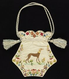 Ladies' bag of white moiré silk embroidered in colored silks. Shape is five-sided, flat, with a scalloped top. Borders of flower wreaths. Embroidered on one side with a greyhound and with a long-tailed bird on the other. Worked as two separate panels, Vintage Purses, Vintage Bags, Vintage Handbags, Vintage Outfits, Vintage Fashion, Victorian Fashion, Beaded Purses, Beaded Bags, Historical Costume