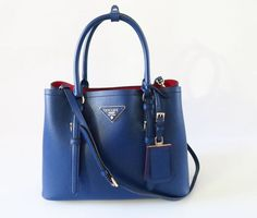 03ca1a57b1 ... usa auth new prada blue saffiano cuir small double bag with red lining  w cross body