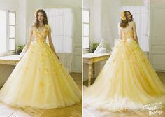 Say hello to the perfect spring gown from Yumi Katsura! The mini flowers blooming on this cheerful yellow gown are making our hearts dance!