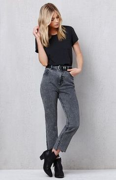 The Black Acid Wash Mom Jeans have a rigid fabrication for a nod to  throwback fashion