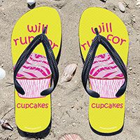 Will Run for Cupcakes on Yellow Flip Flops - Kick back after a run with these great flip flops! Fun and functional flip flops for all runners.