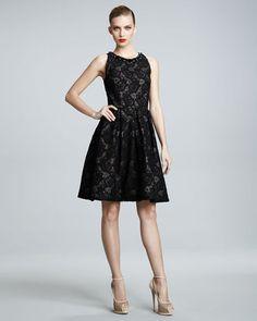 ShopStyle: David Meister Signature Jewel-Neck Lace Dress