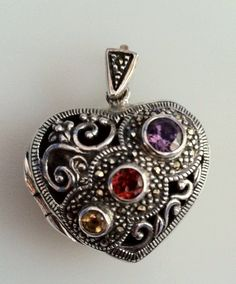 Vintage Sterling Silver Heart Locket Pendant by FrannieBee on Etsy, $42.00