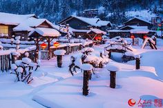 The most beautiful town of snow in China