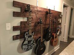 Music Studio Room Diy Guitar Hanger Ideas For 2019 Home Studio Musik, Music Studio Room, Guitar Storage, Home Music Rooms, Band Rooms, Deco Studio, Guitar Hanger, Guitar Room, Guitar On Wall