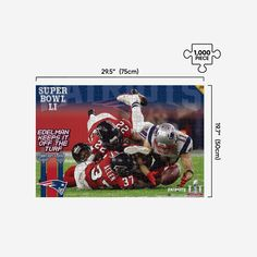 *SEP* *SEP*There's nothing puzzling about the awesomeness of this Julian Edelman New England Patriots Super Bowl LI 1000 Piece Jigsaw Puzzle PZLZ. Celebrate your favorite star and enjoy some fan fun fit for the whole family! Features Portrays Edelman making highlight reel catch in Super Bowl LI, so you can relive that epic moment again and again Team logo display, in case there were any doubts where your allegiances lie EDELMAN KEEPS IT OFF THE TURF text display with date and final score to immo Patriots Superbowl, Julian Edelman, New England Patriots, Puzzle Pieces, Team Logo, 1000 Piece Jigsaw Puzzles, Highlight, Fan
