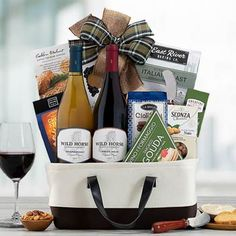 Wine Gift Baskets - Red and White Wine Duo Basket White Wine, Red Wine, Wine Gift Baskets, Gifts Delivered, Pinot Noir, Wine Gifts, Red And White, Treats, Snacks