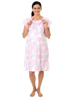 fa31bf8959f2e Lilly Gownie- Maternity Delivery Hospital Gown Pink Grey Floral Birthing  Gown, Nursing Robe,