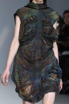 Fabric Manipulation for fashion design - earthy green, dyed silk dress with shredded pattern detail // Sharon Wauchob