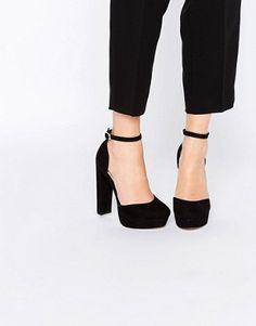 New Look - Scarpe in due parti con tacco e plateau di velluto at asos.com b75576aada1