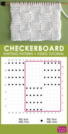 How to Knit the Garter Checkerboard Stitch with Studio Knit. - How to Knit for Beginning Knitters - How to Knit the Garter Checkerboard Stitch with Studio Knit. Knitting Chart of Garter Checkerboard Knit Stitch Pattern with Video Tutorial by Studio Knit Knitting Stiches, Loom Knitting Patterns, Knitting Charts, Knitting Designs, Free Knitting, Stitch Patterns, Sock Knitting, Knitting Tutorials, Knit Stitches