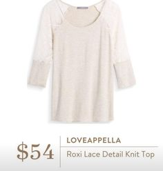 Stitch Fix Fall 2016 - Loveappella, Roxi Lace Detail Knit Top LOVE HOW SIMPLE AN...