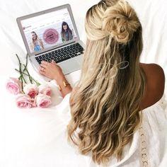 Mega Hair Fita Adesiva em Tiras Humano Liso Loiro Mesclado Escuro (M1305) 55 cm - Bella Hair