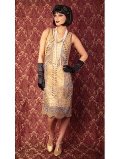 """20s Style Gold Bead Sequin """"Marcelle"""" Fringed Flapper Dress - not vintage, but a great-looking repro. $265.00"""