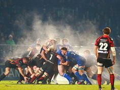 It must have been a cold night in Dublin. This shot from the RaboDirect Pro 12 match between Leinster and Newport Gwent Dragons shows exactly what happens when 30 men run around a pitch in the cold and then go in for a scrum