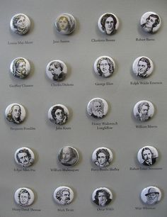 author portrait buttons - 1 inch round - mix and match - choose any three - - QuoteWeekly I Love Books, Great Books, Books To Read, My Books, Geoffrey Chaucer, George Eliot, Louisa May Alcott, Robert Louis Stevenson, John Keats