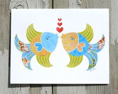 Note Card / Kissing Fish / Beach Art / Love / Anniversary / Hearts / Printed from  My Original Coastal Illustration