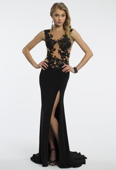 Camille La Vie Illusion Beaded Prom Dress with Side Slit Detail