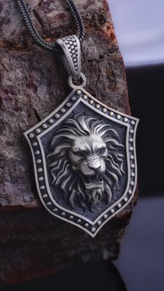 Silver Lion Necklace, The details of this necklace and chain are made with fine handcrafted. This pendant and chain are 925 sterling silver and oxidized plated. Layered Necklaces Silver, Mens Silver Necklace, Sterling Silver Jewelry, Pendant Jewelry, Pendant Necklace, Men's Jewelry, Bold Jewelry, Lion Necklace, Silver Gifts