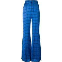 Balmain checked flared trousers ($975) ❤ liked on Polyvore featuring pants, blue, blue pants, flare pants, balmain pants, checked pants and blue checkered pants