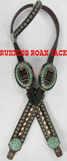 Vintage Scroll Headstall with White Buckstitch and Veined Turquoise Stones by Running Roan Tack