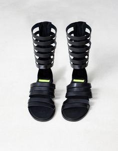 47d43865224  LONG LEATHER GLADIATOR SANDALS  Pull Shoes Men