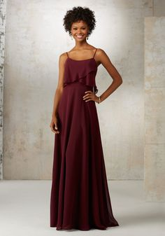 Romantic Chiffon Bridesmaids Dress Featuring Removable Spaghetti Straps and Flutter Neckline. Zipper Back. Shown in Bordeaux and White Smoke